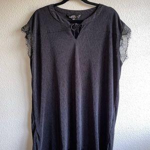 LuLaRoe Black Elegant Lace Detail Top Plus Size